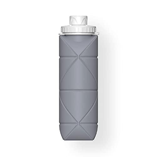 DWQ Botella de Agua de Silicona Plegable al Aire Libre, Botellas de Consumo retráctiles Resistentes a Alta Temperatura, 600 ml / 20 oz (Color : Gris, tamaño : 600ml)