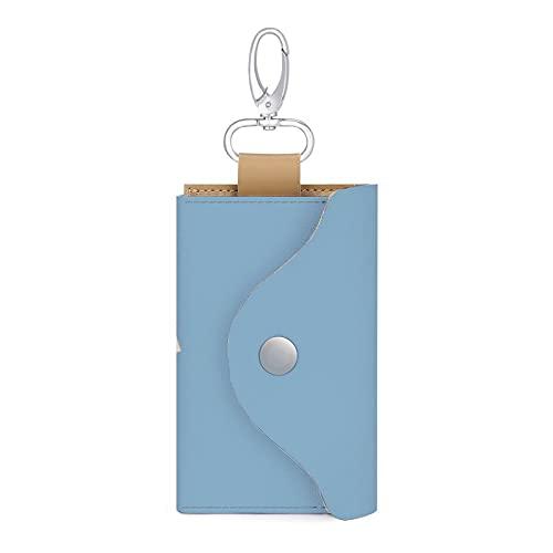 Personalizado barco de vela azul PU cuero clave del coche titular de la bolsa de la llave de la cartera bolsa llavero titular para mujeres hombres