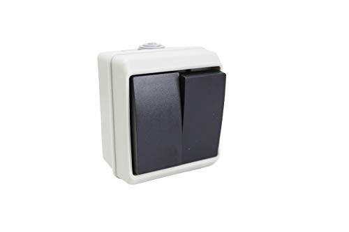Interruptor doble exterior impermeable SERIE IP 54 16A-250V. (2 INTERRUPTOR)