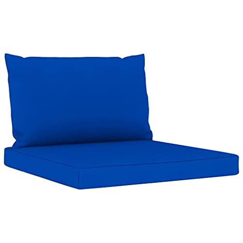vidaXL Cojines para Sofá de Palés 2 Piezas Asiento Silla Respaldo Jardín Patio Balcón Terraza Exterior Suave Cómodo Decoración Tela Azul