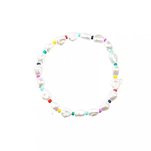 QiuYueShangMao Pulseras con Cuentas Pulsera de Alambre elástico de Perlas de imitación Blancas Pulsera Femenina de Perlas en Forma de Eje Brillante Pulsera de la Amistad