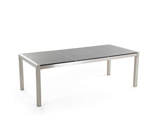 Beliani Moderner Gartentisch 220 cm 3 Tischplatten Granit poliert Grosseto