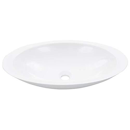 vidaXL Waschbecken Waschtisch Waschschale Waschplatz Aufsatzwaschtisch Aufsatzwaschbecken Badezimmer 59,3x35,1x10,7 cm Mineralguss Gussmarmor Weiß Oval