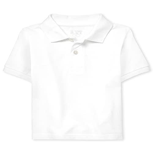 The Children's Place Baby Boys and Toddler Boys Short Sleeve Pique Polo, White, 12-18 MONTHS