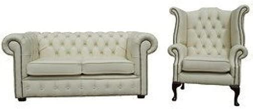 Designer Sofas4u Chesterfield 2 + 1 plazas Sofá de Cuero ...