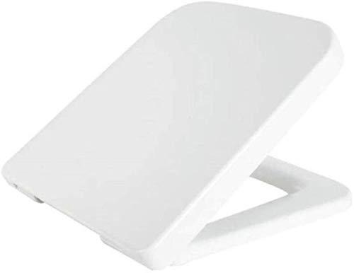 PanYFDD toiletdeksel toiletbrillen, vierkant toiletdeksel met één knop Quick Release Zachte Sluitende Ultra Resistant Gemakkelijk schoon Gebruikt voor wasruimte, Wit-42,5 ~ 44,5 * 37,6 cm Badkamer, familie, wasruimte