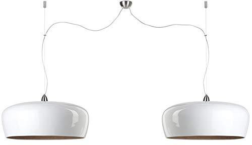 Hanging Lamp Bamboo Hanoi Double Round Dia.60X h.25cm/2-shades Hanging System, White