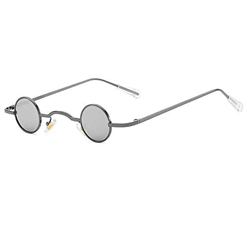 DLSM Vintage Ronda Punk Gafas de Sol Hombres clásico Metal pequeño Marco Retro Hombres Gafas marrón Gafas de Sol UV400 Gafas Adecuado para la conducción al Aire Libre de la fiesta-C6gun-plata