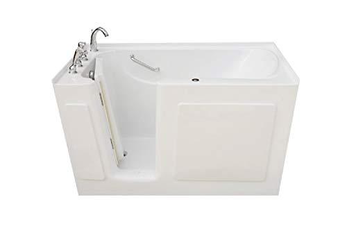 Signature Bath LPI5031-W-LD Walkin Whirlpool Bathtub with Left Drain and Door, 50' x 31' x 38', White