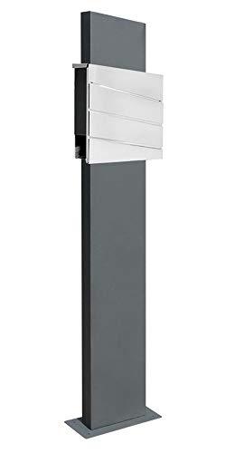 Edelstahl Briefkasten Set Standbriefkasten Ständer Zeitungsrolle Freistehend Zweifarbig Anthrazit V2Aox Auswahl, Ausführung:1 Fuß - breit/anthrazit, Design:04