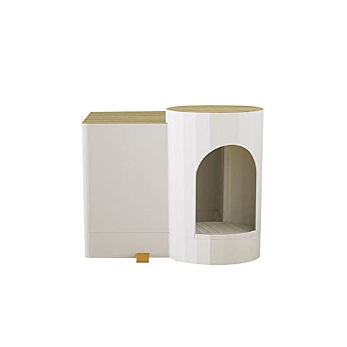 Caja de Arena Caja de arena de gato con sensor inteligente Luz grande totalmente cerrado Largo Aisle Anti-Sand Cat Gato Aseo Anti-Splashing y Desodorizante Inteligencia Arenero gatos ( Color : White )