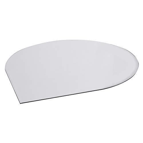 FIREFIX 1954/4 Glasbodenplatte (Hitzeschutz Ofen), Tropfenform-Bodenplatte (1.100 x 1.100 x 550 mm), 8 mm Starkes Klarglas (Sicherheitsglas ESG) mit Facettenschliff (20 mm, umlaufend), Transparent