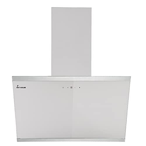 KKT KOLBE/Kopffreie Wandhaube/Dunstabzugshaube / 60cm / Edelstahl/weißes Glas/Nachlaufautomatik/SensorTouch Bedienung / LUNA6109W