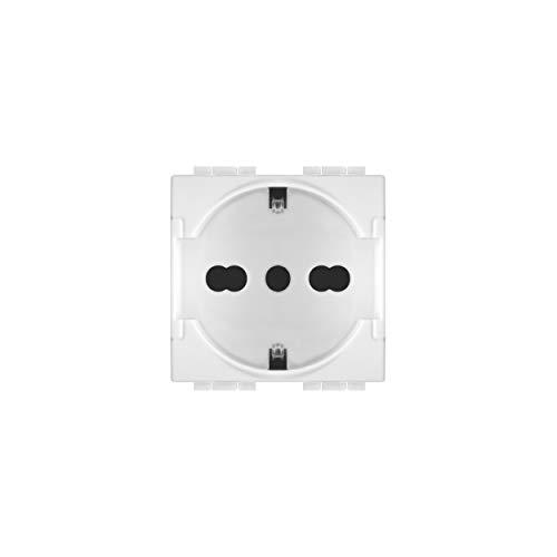 LineteckLED -LNT 814B- Serie Completa Materiale Elettrico Fai da Te- Presa Schuko 16A 250V Bianca Compatibile living