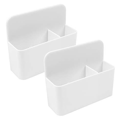 Huayue 2 Stück Magnetisch Marker Halter Whiteboard Stifthalter für magnetische Oberflächen Whiteboard Halterung Kühlschrank Spind Schreibtisch-Organizer Aufbewahrungsbox Radiergummis Halterung (Weiß)