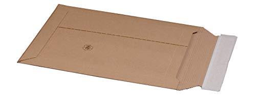 KK Verpackungen® Versandtasche aus Wellpappe für DIN A4+ | 100 Stück, 235x337x35mm, Versandverpackung mit Selbstklebeverschluss & Aufreißfaden | Karton-Versandtasche für flachliegende Gegenstände