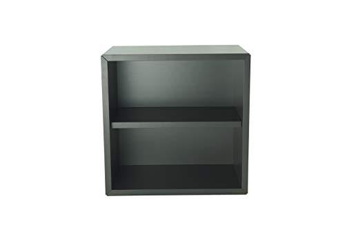 Pequeño mueble de madera, estante, estantería, librería, mesilla de noche, mueble, cubo, organizador de espacio para dormitorio, salón, cuarto de baño, cocina. 365x365x210 mm (Antracita).