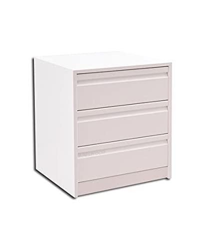 Cajonera para Armario, Completamente Montada, Frente Postformado, Color Blanco, 60 cm Ancho x 50 cm Fondo - 3 Cajones 16 cm. Alto 56.8 cm.