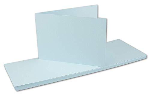 Vouwkaarten DIN A6 dubbele kaarten -10,5 x 14,8 cm - blanco dwars-dubbele vouwkaarten - FarbenFroh by Gustav Neuser® 75 Karten 19 lichtblauw
