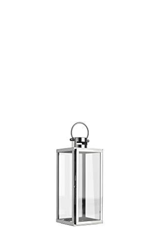 home + Lanterne en acier inoxydable - anti-corrosion, résistant aux intempéries - Différentes tailles disponibles (plate) - Klein (50cm)
