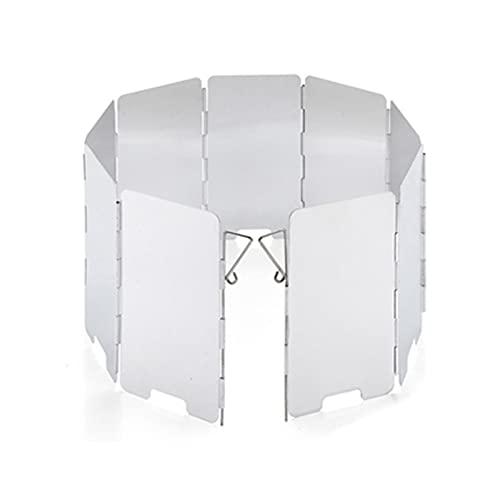 XUEXIU Aluminio 9 Placas Estufa Plegable Parabrisas para Cocinar Al Aire Libre Camping Camping BBQ Estufa Equipo De Parabrisas con Bolsa (Color : Silver)