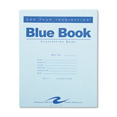 * Exam Blue Book, Wide Rule, 8-1/2 x 7, White, 12 Sheets/24 Pages