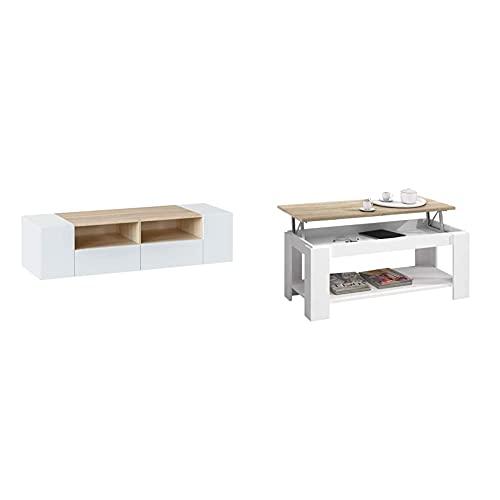 Habitdesign Mueble De Salon, Modulo Comedor Tamiko, Acabado Blanco Artik Y Roble...