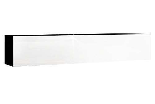 RODRIGO TV Lowboard 160cm Hängeboard Hochglanz schwarz TV Board modernes Design (korpus matt schwarz+Front weiß Hochglanz)
