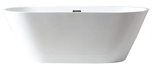 Bernstein Badshop Freistehende Badewanne LUGANO Standbadewanne aus Acryl in Weiß OMS-771 170 x 74 cm inkl. Ab-/Überlauf