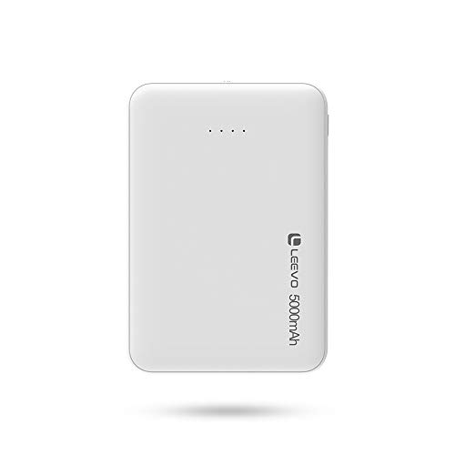 Leevo Monster 5000 mAh Pocket-Size Power Bank, 2-Way Fast Charge with 2.4 A, Lithium Pol-ymer, Small Size with Great Power, Easy to Carry, Premium Design (White)
