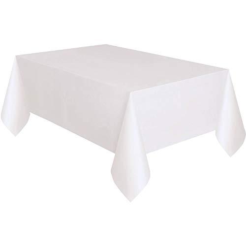 Unique Party - Mantel de Papel Forrado con Plástico - 2,74 m x 1,37 m - Blanco (50180)