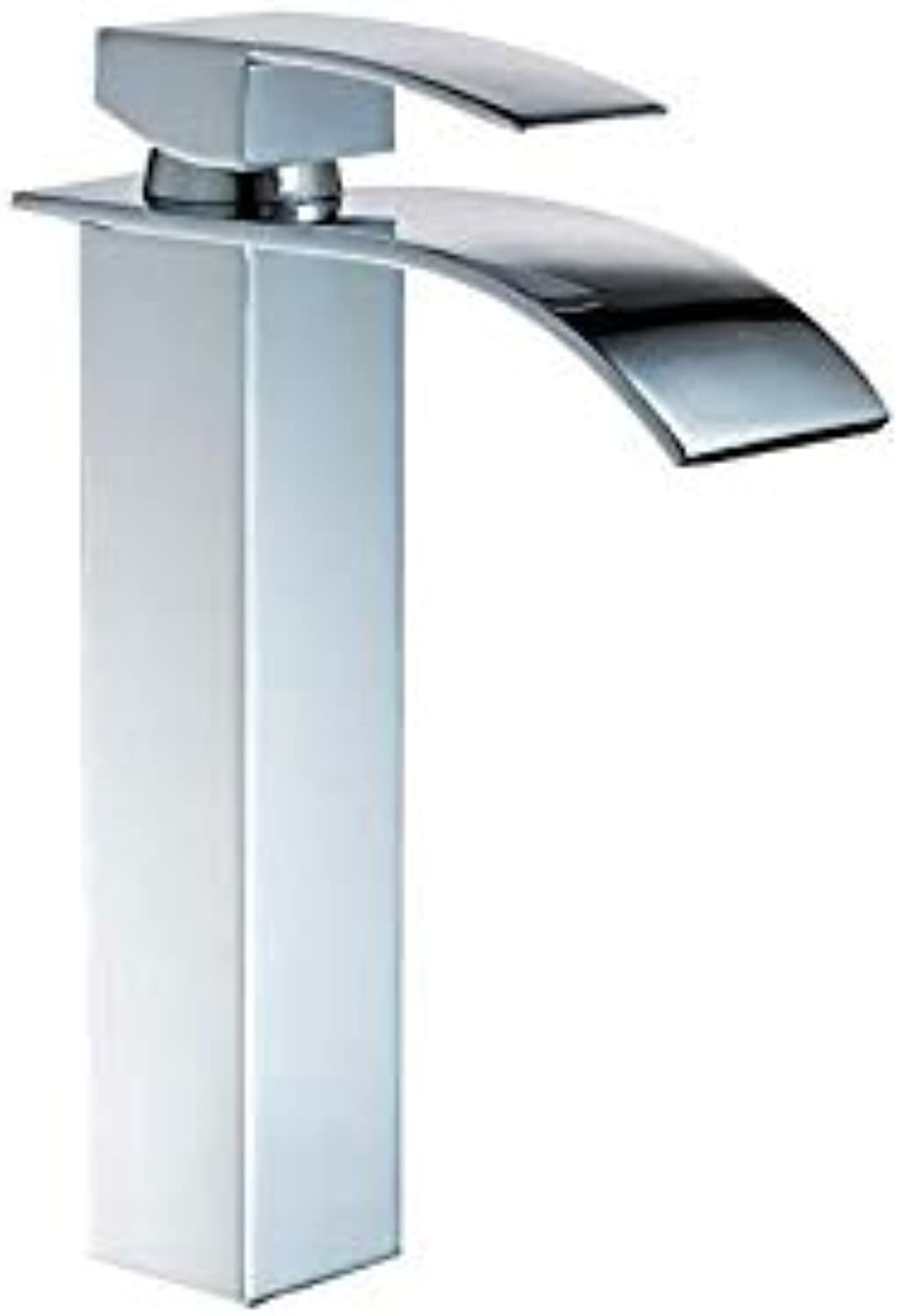 Kitchen Fauct Taps Chrome Waterfall Basin Faucet???Square Single Hole Washbasin Hot and Cold Water Mixer (color   -, Size   -)
