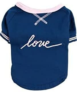 ED Ellen DeGeneres Blue Love Script Dog Shirt~Medium~