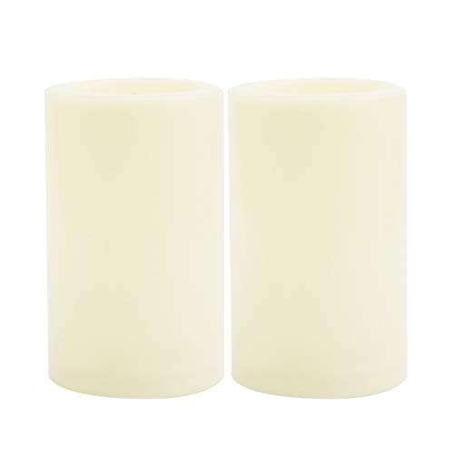 2 PCS Waterproof Outdoor Battery Operated Flameless LED Pillar Candles with Timer Flickering Plastic Electric Decorative Light for Lantern Party Wedding Decoration Garden Patio Home Decor 3x5 Inches