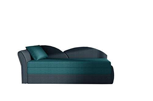 Sofa mit Schlaffunktion und Bettkasten, Couch für Wohnzimmer, Schlafsofa Federkern Sofagarnitur Polstersofa Wohnlandschaft mit Bettfunktion - ARGEA (Türkis +Dunkelblau (Malmo85+Malmo81), Sofa Links)