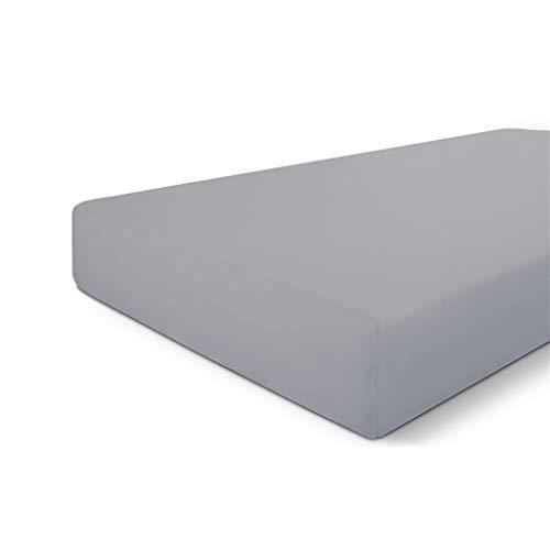 Walra Sábana bajera de 80 x 200 cm, 100% algodón, ajuste perfecto para el colchón, sensación suave, no se arruga ni necesita planchado, color gris claro