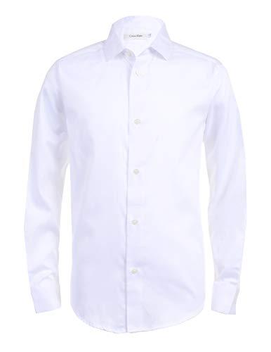 Calvin Klein Boys' Big Long Sleeve Sateen Dress Shirt, White, 10