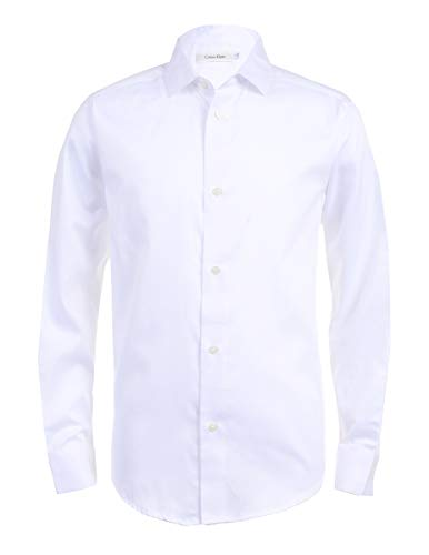 Calvin Klein Boys' Big Long Sleeve Sateen Dress Shirt, White, 14
