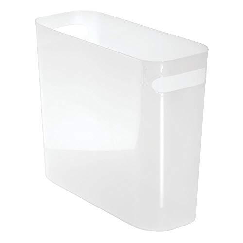 mDesign Papiermülleimer mit Griffen – moderner Mini Mülleimer für Papier – Papiereimer aus robustem Kunststoff – BHT: 27,0 x 25,5 x 13,5 cm – auch als Zeitschriftensammler geeignet – weiß