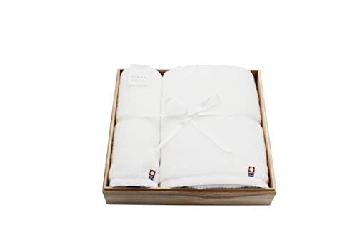 ドルチェデュオ 今治タオル ギフトセット フェイスタオル バスタオル 無地 白 木箱入 内祝 快気祝 お返し 日本製 DAM-056