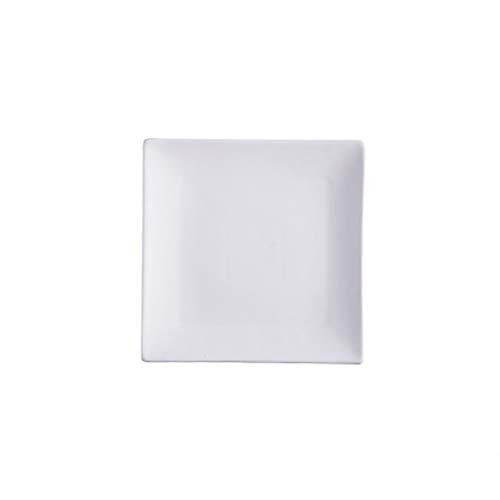 Mrjg Platos 1 unids Placa de cerámica Plato Cuadrado Blanco y Negro Placa de Filete diseño Simple Conjunto de Cena de Porcelana Plato de Desayuno (Color : White, Plate Size : 10 Inches)