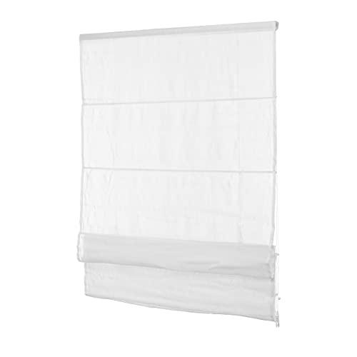 Ventanara Fenster Raffrollo tageslicht Raffgardine Faltvorhang Montage ohne Bohren inklusive Klemmträger (110 x 130 cm, Weiss Blickdicht)