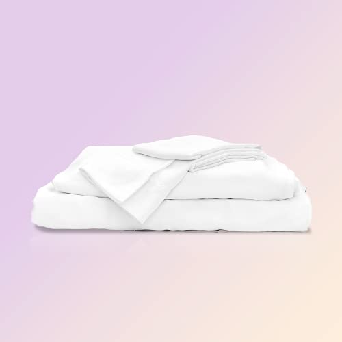 Sheets & Giggles 100% Eucalyptus Lyocell Sheet Set. Our All-Season Eucalyptus Sheets are Responsibly Made, Naturally Cooling, Super Soft, Moisture-Wicking, Chemical-Free- Cal King White