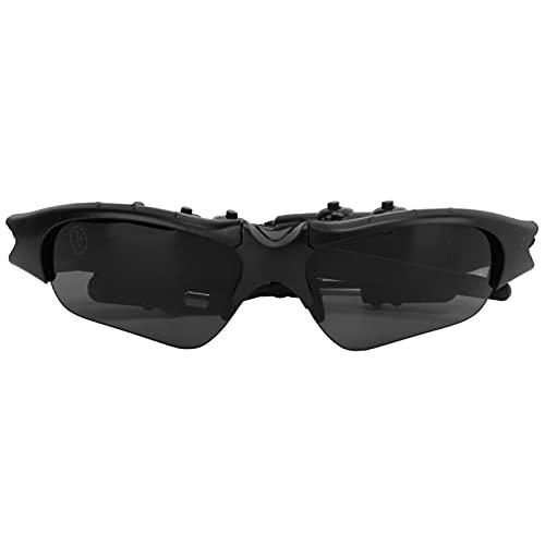 Akozon Gafas De Cámara MS04B HD 4GB con 2 Auriculares Estéreo 180 ° Girado Disparo De Video Y Fotografía Gafas Usable Cámara Gafas De Sol De Ciclismo para Montar para Deporte Al Aire Libre