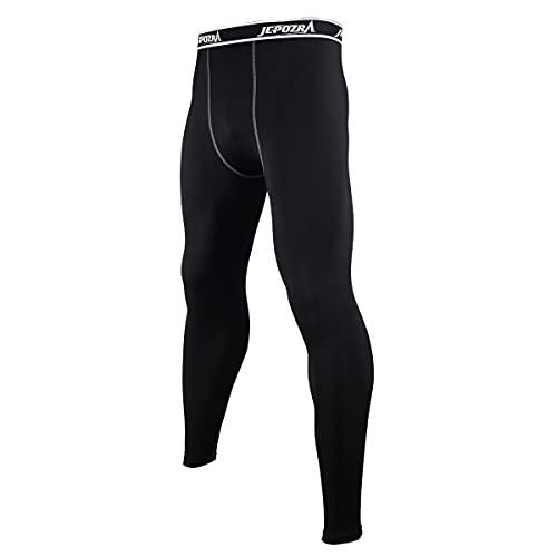 JEPOZRA Calzamaglia per Compressione Sportiva da Uomo Leggins Neri Palestra Morbidi Pantaloni Elastico Fitness Running Scalda Muscoli Uomo Gambe