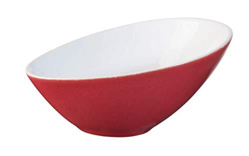 ASA 91051084 schaal/kom - VO〖LE - asymmetrisch - porselein - rood - L. 15,5 cm.
