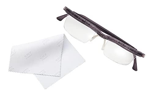 【自分で度数調節できる老眼鏡】ドゥーアクティブ(グレー) くもり止めメガネ拭き付 プレスビー アドレンズ ブルーライト 拡大鏡 CM