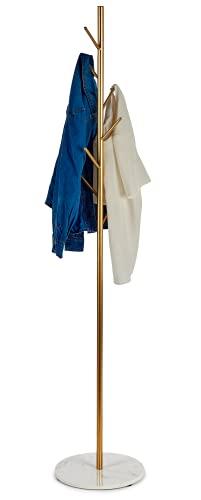 TIENDA EURASIA® Perchero de Pie Diseño Arbol - Estructura Metalica Dorada y Base Acabado Marmol - 33 x 172 cm
