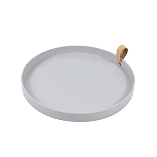 H HILABEE Bandeja de almacenamiento de Color sólido mesa de hogar portátil maquillaje Perfume cocina vajilla organizador bandeja para servir - Luz gris