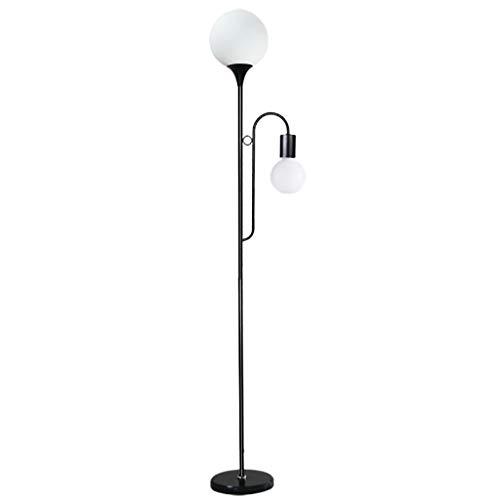Koplamp, led-vloerlamp, met leesarm, metaal, E27, zilver, witte kap